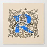 Celt Rabbit Letter R Blu… Canvas Print