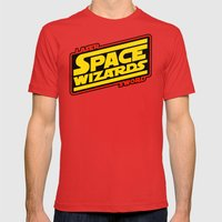 LASER SWORD SPACE WIZARDS Mens Fitted Tee Red SMALL