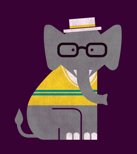 Rodney the preppy elephant Art Print