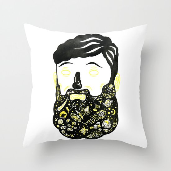 Space Beard Guy Throw Pillow