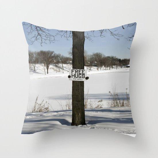 Free Hugs Tree Throw Pillow