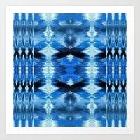 Watercolor Ikat Blue Borders Art Print