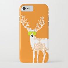Orange reindeer art iPhone 7 Slim Case
