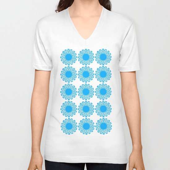 Vintage Flower_Turquoise V-neck T-shirt