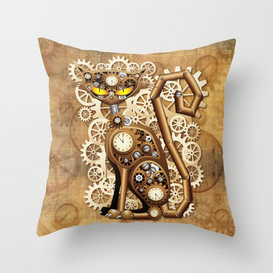 Vintage Style Throw Pillows : Steampunk Cat Vintage Style Throw Pillow by BluedarkArt Society6