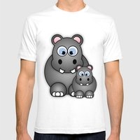 Hippos. Mens Fitted Tee White SMALL