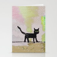 black cat Stationery Cards featuring Black Cat by Brontosaurus