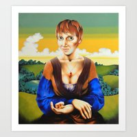 Girl With Blue Sleeves  Art Print