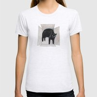 Black Cat Box Womens Fitted Tee Ash Grey SMALL