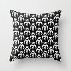 Mythosaur Skulls in Black and White Throw Pillow