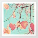 Two hearts on mint Art Print