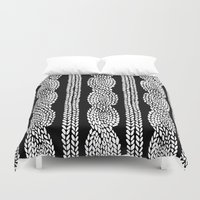 Cable Row Black Duvet Cover