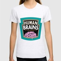 Human Brains Womens Fitted Tee Ash Grey SMALL