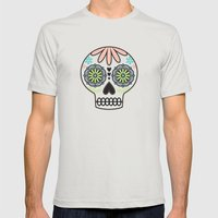 Sugar Skull Mens Fitted Tee Silver SMALL