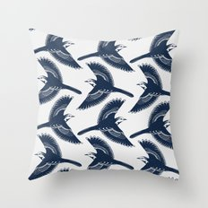 White Wagtails Pattern Throw Pillow