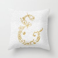 Gold Leaf Floral Ampersa… Throw Pillow