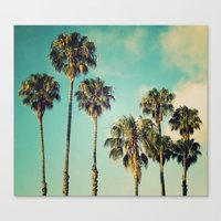 Palms Blue Canvas Print