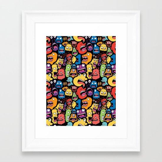 Monster Faces Pattern Framed Art Print