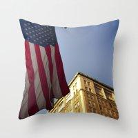Cornice With Flag Throw Pillow