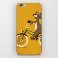 Raccoon on a bicycle iPhone & iPod Skin