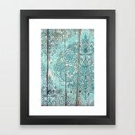 Teal & Aqua Botanical Do… Framed Art Print