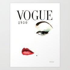 Vintage Vogue Magazine Cover. Fashion Illustration. Art Print