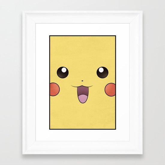 Pikachu - Minimal Pokemon Poster Framed Art Print