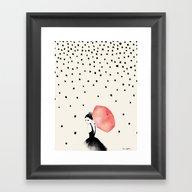 Framed Art Print featuring Polka Rain by Karen Hofstetter