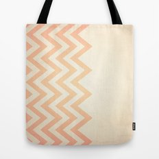 Orange Textured Chevron Tote Bag