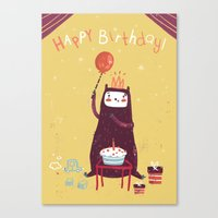 Happy birthday purple monster! Canvas Print