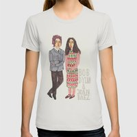 Bob Dylan & Joan Baez Womens Fitted Tee Silver SMALL