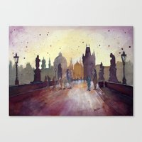 Prague, watercolor explorations in violet  Canvas Print