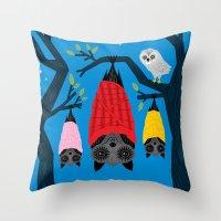 Bats in Blankets Throw Pillow