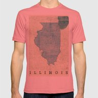 Illinois Map Blue Vintag… Mens Fitted Tee Pomegranate SMALL