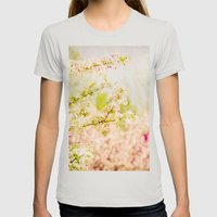 Country Lane Flowers Womens Fitted Tee Silver SMALL