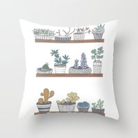 Quirky Succulents Throw Pillow