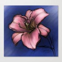 Flower Study 1 On Blue Canvas Print