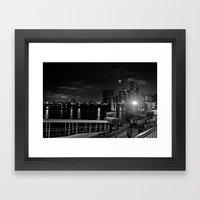 Moonlit Night at Chicago's Navy Pier Framed Art Print