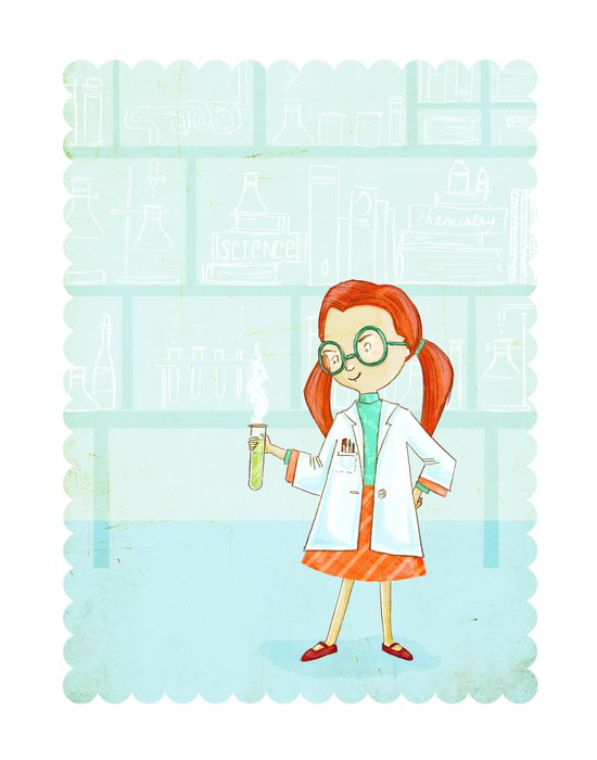 Smartypants Girl #1: Science Girl Art Print