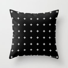 White Plus On Black /// … Throw Pillow