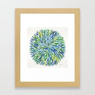 Watercolor Burst – Blu… Framed Art Print