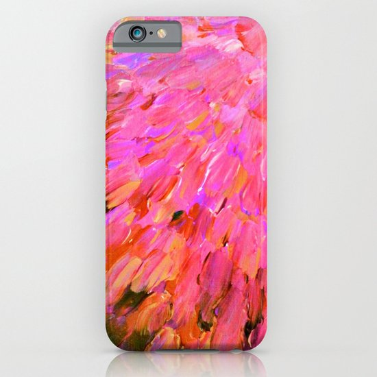 SEA SCALES IN PINK - Hot Pink Feminine Beach Ocean Waves Feathers Abstract Acrylic Painting Fine Art iPhone & iPod Case