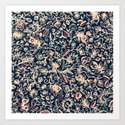 Navy Garden - floral doodle pattern in cream, dark red & blue Art Print