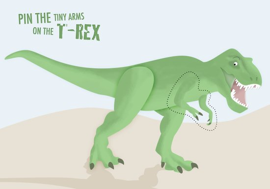 pin the tiny arms on the t-rex Art Print