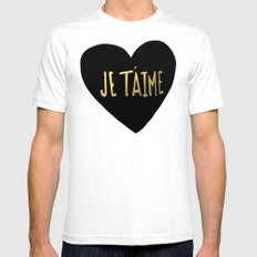je t'aime x heart Mens Fitted Tee White SMALL