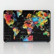 Abstract World Map Black iPad Case
