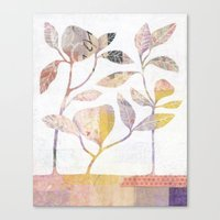 Flowers On Wood Canvas Print