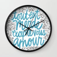 Excepte Vous Amour Wall Clock