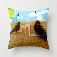 New York Pigeons Throw Pillow
