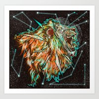 Art Print featuring Space lion  by Derek Guidry